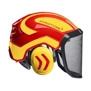 Pfanner Protos Arborist Helmet - Neon Yellow/Red